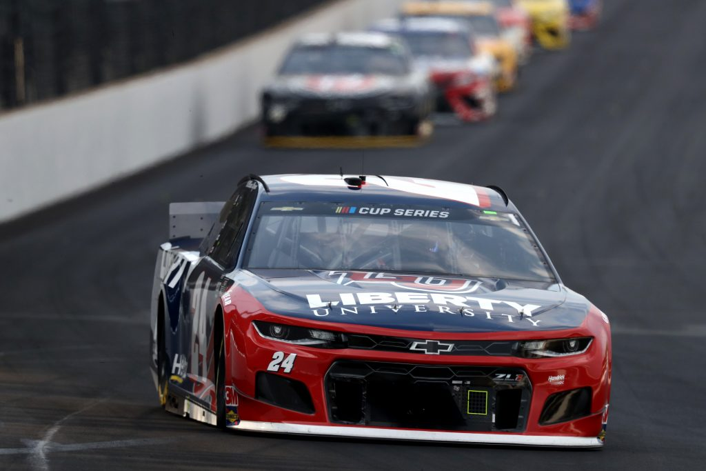 INDIANAPOLIS, INDIANA - JULY 05: William Byron, driver of the #24 Liberty University Chevrolet, drives during the NASCAR Cup Series Big Machine Hand Sanitizer 400 Powered by Big Machine Records at Indianapolis Motor Speedway on July 05, 2020 in Indianapolis, Indiana. (Photo by Jamie Squire/Getty Images) | Getty Images