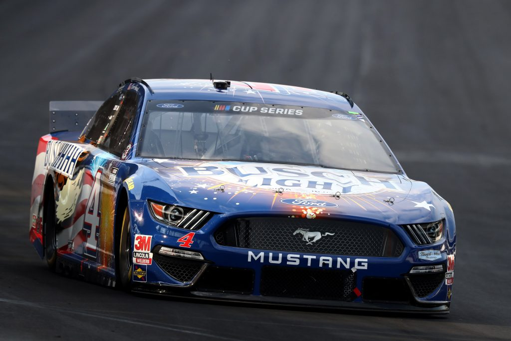 INDIANAPOLIS, INDIANA - JULY 05: Kevin Harvick, driver of the #4 Busch Light Patriotic Ford, races during the NASCAR Cup Series Big Machine Hand Sanitizer 400 Powered by Big Machine Records at Indianapolis Motor Speedway on July 05, 2020 in Indianapolis, Indiana. (Photo by Jamie Squire/Getty Images) | Getty Images