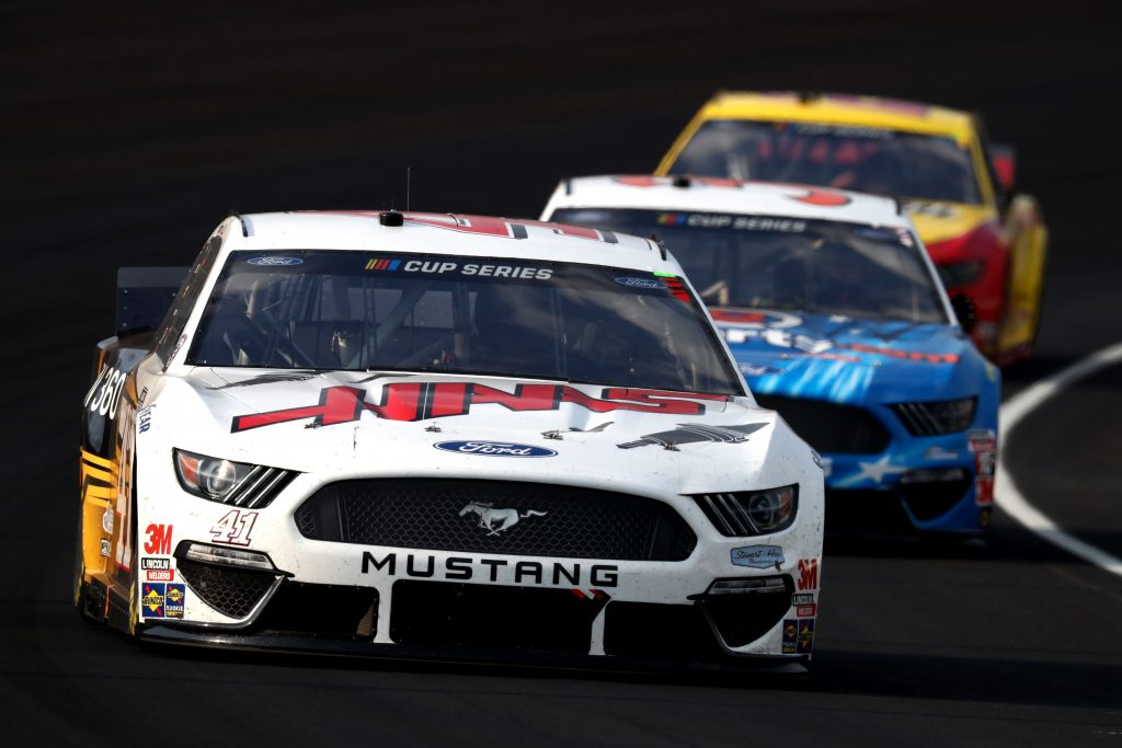 INDIANAPOLIS, INDIANA - JULY 05: Cole Custer, driver of the #41 Ford, leads a pack of cars during the NASCAR Cup Series Big Machine Hand Sanitizer 400 Powered by Big Machine Records at Indianapolis Motor Speedway on July 05, 2020 in Indianapolis, Indiana. (Photo by Jamie Squire/Getty Images) | Getty Images