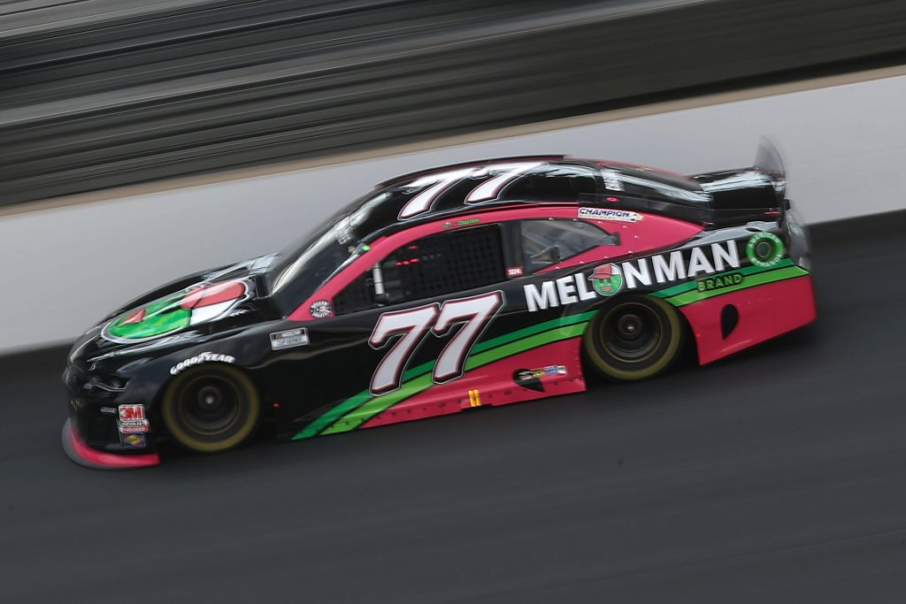 INDIANAPOLIS, INDIANA - JULY 05: Ross Chastain, driver of the #77 Melon Man Brand Chevrolet, drives during the NASCAR Cup Series Big Machine Hand Sanitizer 400 Powered by Big Machine Records at Indianapolis Motor Speedway on July 05, 2020 in Indianapolis, Indiana. (Photo by Chris Graythen/Getty Images) | Getty Images