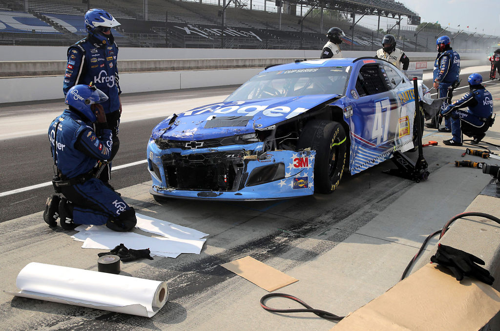 INDIANAPOLIS, INDIANA - JULY 05: Ricky Stenhouse Jr., driver of the #47 Kroger Chevrolet, pits during the NASCAR Cup Series Big Machine Hand Sanitizer 400 Powered by Big Machine Records at Indianapolis Motor Speedway on July 05, 2020 in Indianapolis, Indiana. (Photo by Chris Graythen/Getty Images) | Getty Images