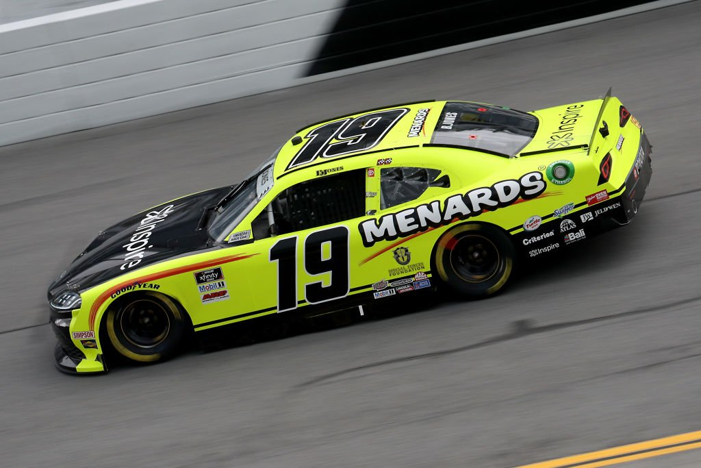 DAYTONA BEACH, FLORIDA - AUGUST 15: Brandon Jones, driver of the #19 Menards/Inspire Toyota, drives during the NASCAR Xfinity Series UNOH 188 at Daytona International Speedway on August 15, 2020 in Daytona Beach, Florida. (Photo by Chris Graythen/Getty Images) | Getty Images