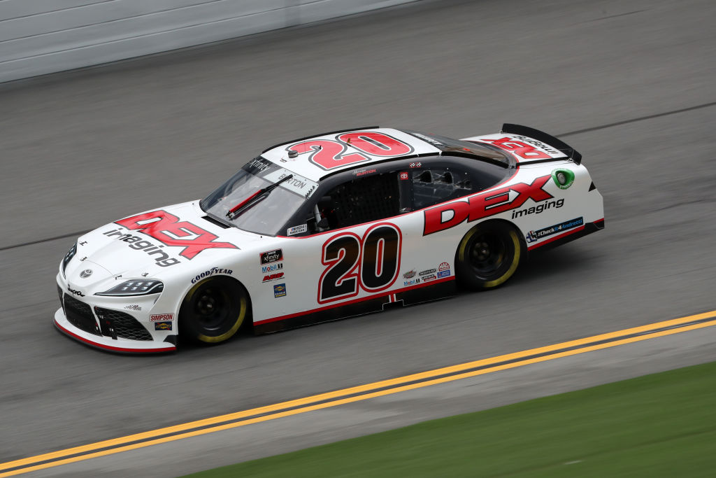 DAYTONA BEACH, FLORIDA - AUGUST 15: Harrison Burton, driver of the #20 DEX Imaging Toyota, drives during the NASCAR Xfinity Series UNOH 188 at Daytona International Speedway on August 15, 2020 in Daytona Beach, Florida. (Photo by Chris Graythen/Getty Images) | Getty Images