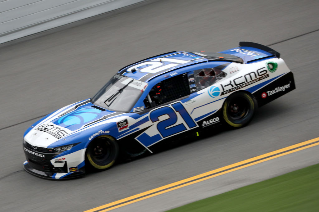 DAYTONA BEACH, FLORIDA - AUGUST 15: Earl Bamber, driver of the #21 KCMG Chevrolet, drives during the NASCAR Xfinity Series UNOH 188 at Daytona International Speedway on August 15, 2020 in Daytona Beach, Florida. (Photo by Chris Graythen/Getty Images) | Getty Images