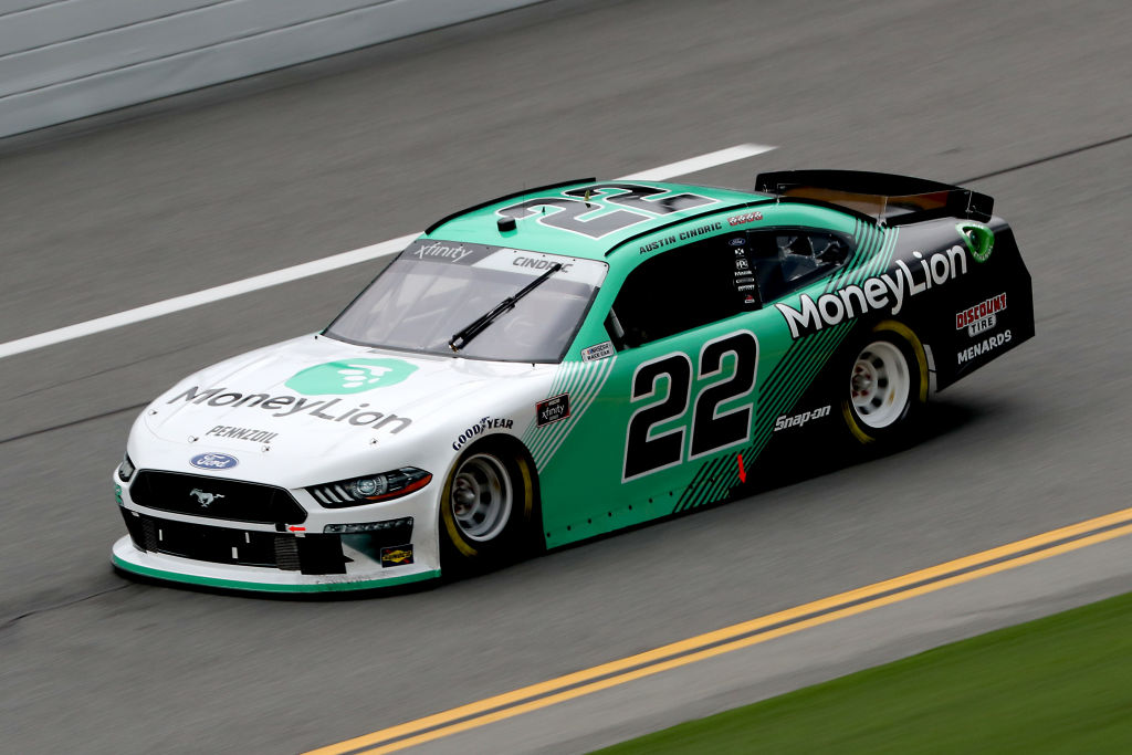 DAYTONA BEACH, FLORIDA - AUGUST 15: Austin Cindric, driver of the #22 MoneyLion Ford, drives during the NASCAR Xfinity Series UNOH 188 at Daytona International Speedway on August 15, 2020 in Daytona Beach, Florida. (Photo by Chris Graythen/Getty Images) | Getty Images