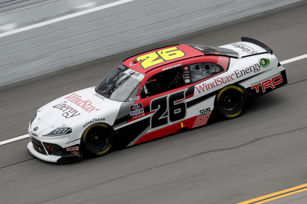 DAYTONA BEACH, FLORIDA - AUGUST 15: Brandon Gdovic, driver of the #26 Windstax Energy Toyota, drives during the NASCAR Xfinity Series UNOH 188 at Daytona International Speedway on August 15, 2020 in Daytona Beach, Florida. (Photo by Chris Graythen/Getty Images) | Getty Images