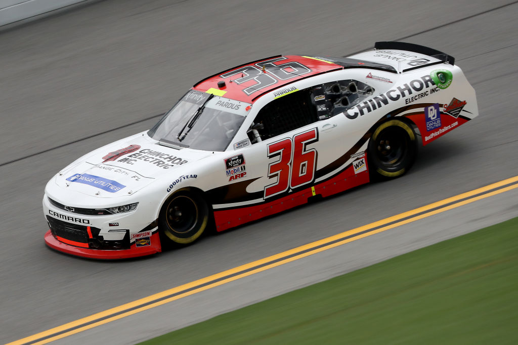 DAYTONA BEACH, FLORIDA - AUGUST 15: Preston Pardus, driver of the #36 Chinchor Electric/Danus Chevrolet, drives during the NASCAR Xfinity Series UNOH 188 at Daytona International Speedway on August 15, 2020 in Daytona Beach, Florida. (Photo by Chris Graythen/Getty Images) | Getty Images
