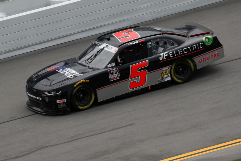 DAYTONA BEACH, FLORIDA - AUGUST 15: Matt Mills, driver of the #5 Thompson Electric/JF Electric Chevrolet, drives during the NASCAR Xfinity Series UNOH 188 at Daytona International Speedway on August 15, 2020 in Daytona Beach, Florida. (Photo by Chris Graythen/Getty Images) | Getty Images