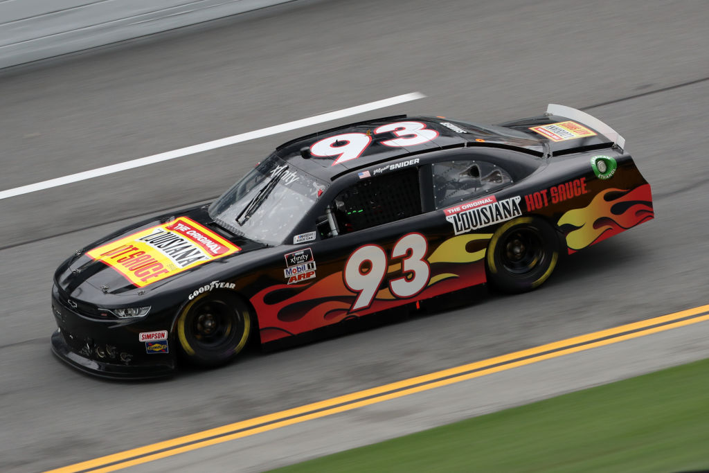 DAYTONA BEACH, FLORIDA - AUGUST 15: Myatt Snider, driver of the #93 The Original Louisiana Hot Sauce Chevrolet, drives during the NASCAR Xfinity Series UNOH 188 at Daytona International Speedway on August 15, 2020 in Daytona Beach, Florida. (Photo by Chris Graythen/Getty Images) | Getty Images