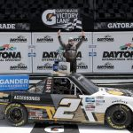 DAYTONA BEACH, FLORIDA - AUGUST 16: Sheldon Creed, driver of the #2 Chevy Accessories Chevrolet, celebrates in Victory Lane after winning the NASCAR Gander RV & Outdoors Truck Series Sunoco 159 at Daytona International Speedway on August 16, 2020 in Daytona Beach, Florida. (Photo by Chris Graythen/Getty Images) | Getty Images