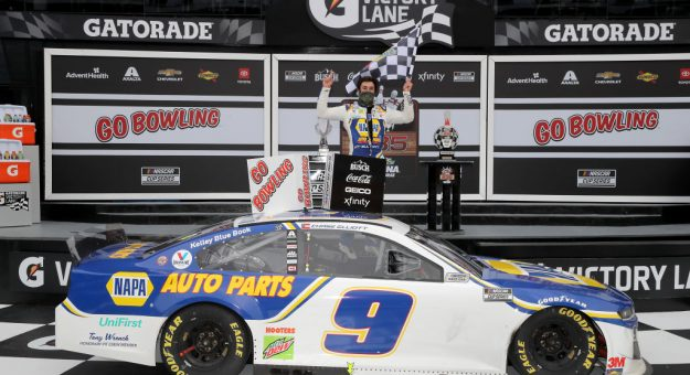 DAYTONA BEACH, FLORIDA - AUGUST 16: Chase Elliott, driver of the #9 NAPA Auto Parts Chevrolet, celebrates in Victory Lane after winning the NASCAR Cup Series Go Bowling 235 at Daytona International Speedway on August 16, 2020 in Daytona Beach, Florida. (Photo by Chris Graythen/Getty Images) | Getty Images