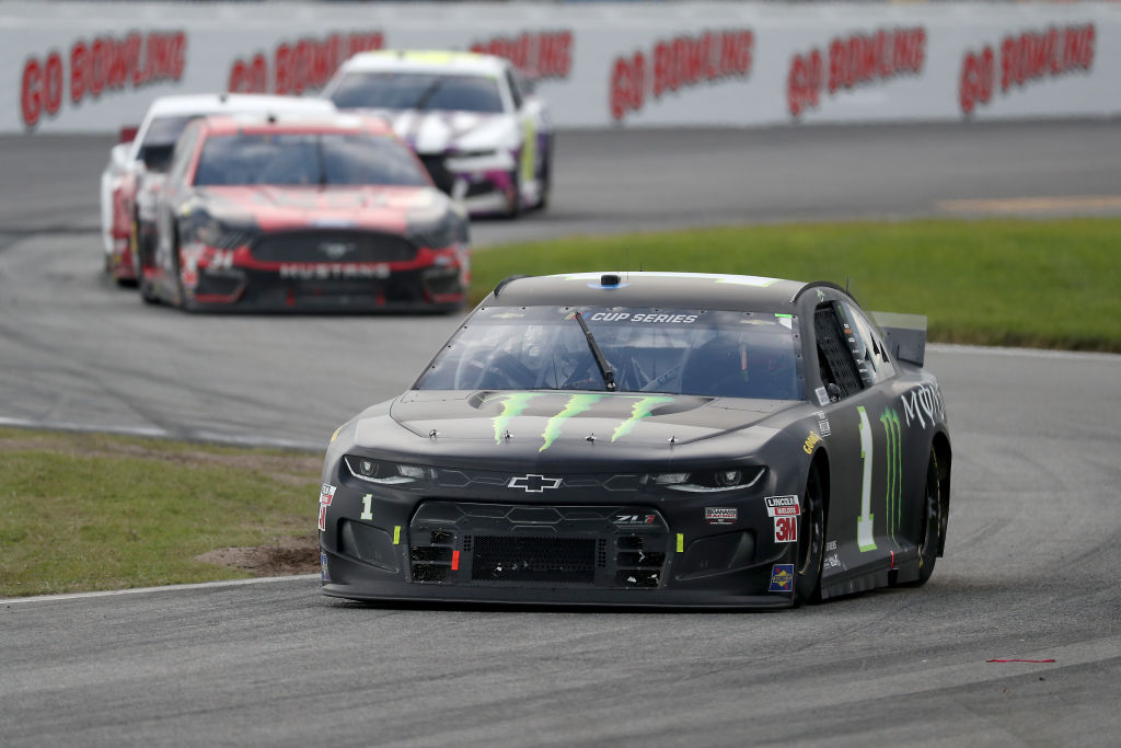 DAYTONA BEACH, FLORIDA - AUGUST 16: Kurt Busch, driver of the #1 Monster Energy Chevrolet, leads the field during the NASCAR Cup Series Go Bowling 235 at Daytona International Speedway on August 16, 2020 in Daytona Beach, Florida. (Photo by Chris Graythen/Getty Images) | Getty Images