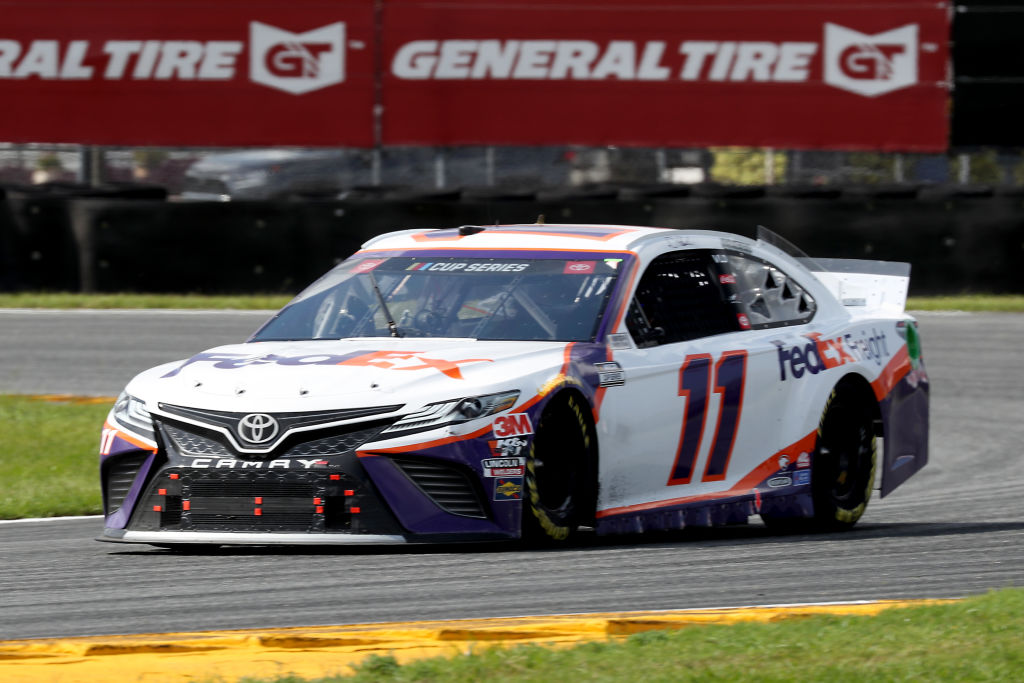 DAYTONA BEACH, FLORIDA - AUGUST 16: Denny Hamlin, driver of the #11 FedEx Freight Toyota, drives during the NASCAR Cup Series Go Bowling 235 at Daytona International Speedway on August 16, 2020 in Daytona Beach, Florida. (Photo by Chris Graythen/Getty Images) | Getty Images