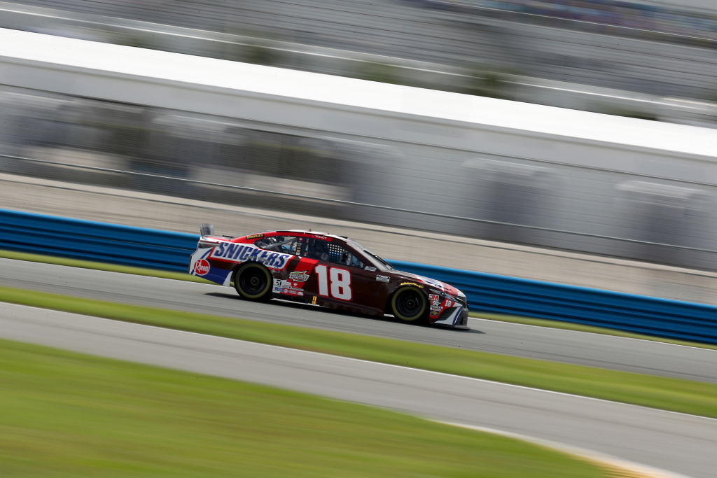 DAYTONA BEACH, FLORIDA - AUGUST 16: Kyle Busch, driver of the #18 Snickers Toyota, drives during the NASCAR Cup Series Go Bowling 235 at Daytona International Speedway on August 16, 2020 in Daytona Beach, Florida. (Photo by Chris Graythen/Getty Images) | Getty Images