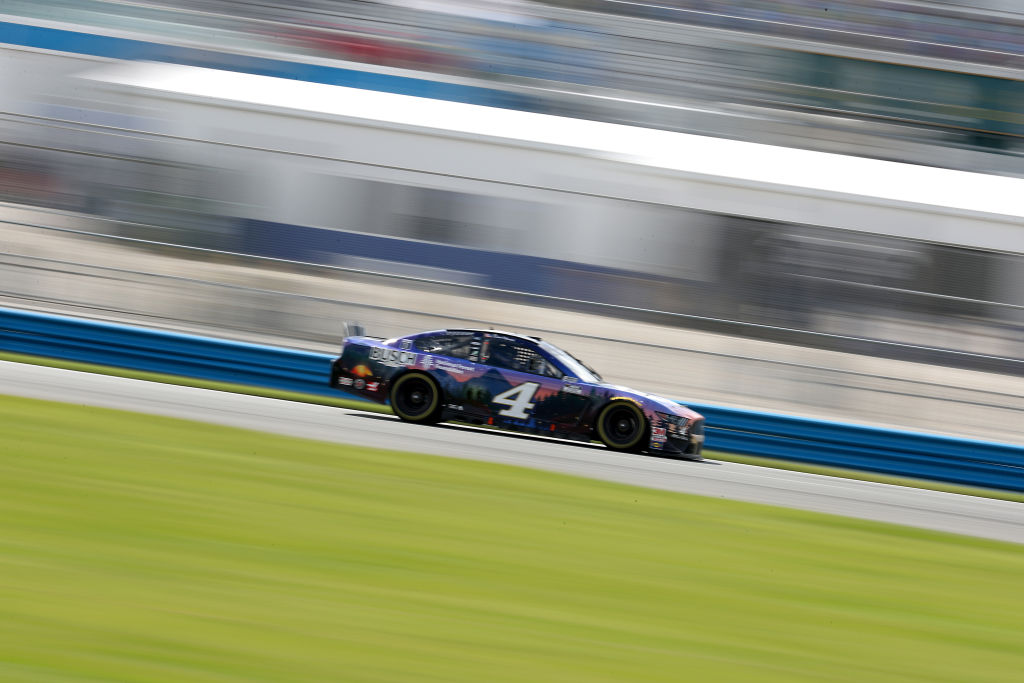 DAYTONA BEACH, FLORIDA - AUGUST 16: Kevin Harvick, driver of the #4 Busch Beer National Forest Foundation Ford, drives during the NASCAR Cup Series Go Bowling 235 at Daytona International Speedway on August 16, 2020 in Daytona Beach, Florida. (Photo by Chris Graythen/Getty Images) | Getty Images