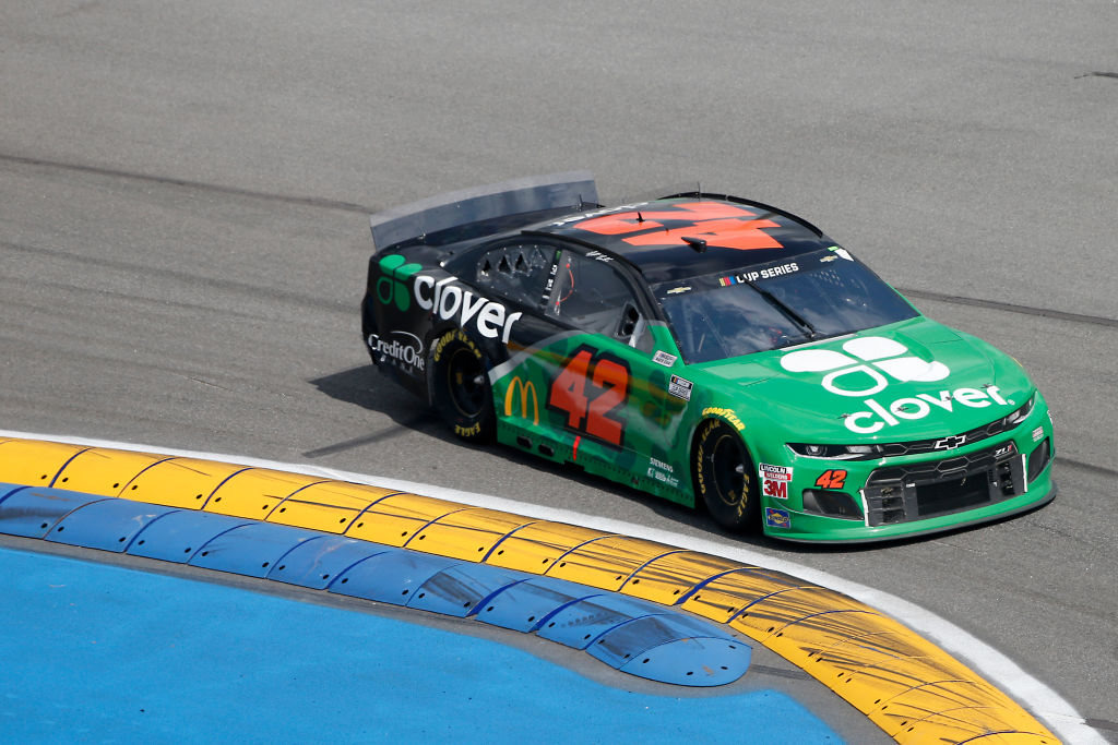 DAYTONA BEACH, FLORIDA - AUGUST 16: Matt Kenseth, driver of the #42 Clover Chevrolet, drives during the NASCAR Cup Series Go Bowling 235 at Daytona International Speedway on August 16, 2020 in Daytona Beach, Florida. (Photo by Brian Lawdermilk/Getty Images) | Getty Images