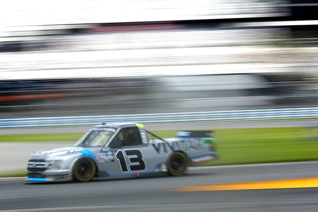 DAYTONA BEACH, FLORIDA - AUGUST 16: Johnny Sauter, driver of the #13 Vivitar Ford, drives during the NASCAR Gander RV & Outdoors Truck Series Sunoco 159 at Daytona International Speedway on August 16, 2020 in Daytona Beach, Florida. (Photo by Chris Graythen/Getty Images) | Getty Images