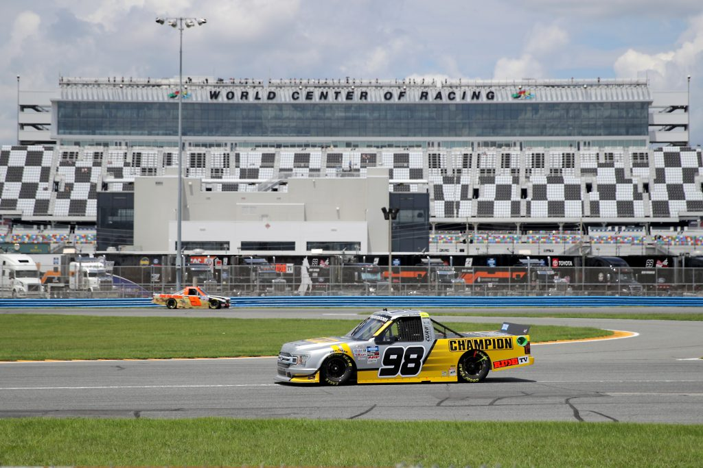 DAYTONA BEACH, FLORIDA - AUGUST 16: Grant Enfinger, driver of the #98 Champion Power Equipment/Curb Records Ford, drives during the NASCAR Gander RV & Outdoors Truck Series Sunoco 159 at Daytona International Speedway on August 16, 2020 in Daytona Beach, Florida. (Photo by Chris Graythen/Getty Images) | Getty Images