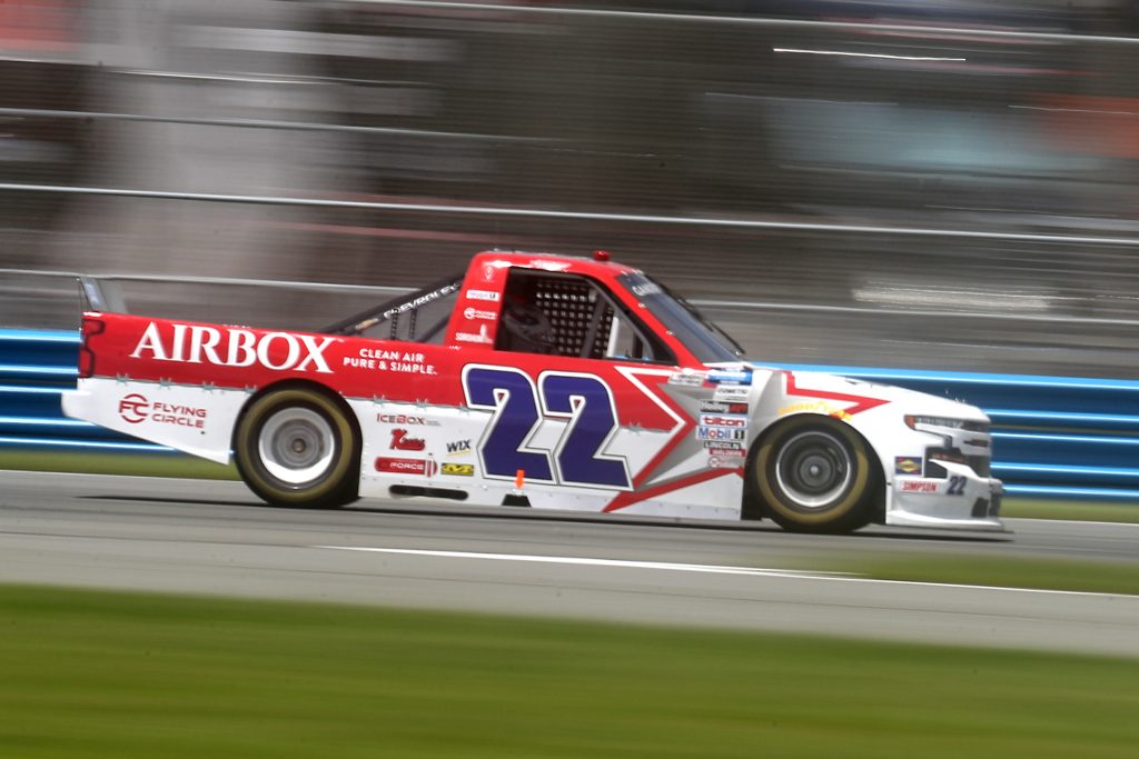 DAYTONA BEACH, FLORIDA - AUGUST 16: Austin Wayne Self, driver of the #22 AIRBOX Air Purifiers Chevrolet, drives during the NASCAR Gander RV & Outdoors Truck Series Sunoco 159 at Daytona International Speedway on August 16, 2020 in Daytona Beach, Florida. (Photo by Chris Graythen/Getty Images) | Getty Images