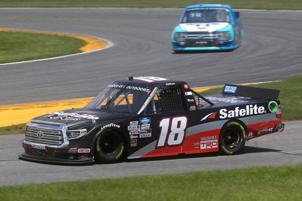 DAYTONA BEACH, FLORIDA - AUGUST 16: Christian Eckes, driver of the #18 Safelite AutoGlass Toyota, drives during the NASCAR Gander RV & Outdoors Truck Series Sunoco 159 at Daytona International Speedway on August 16, 2020 in Daytona Beach, Florida. (Photo by Chris Graythen/Getty Images) | Getty Images