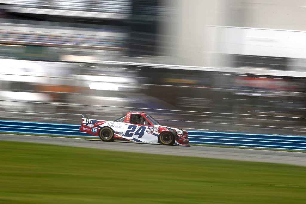 DAYTONA BEACH, FLORIDA - AUGUST 16: Kris Wright, driver of the #24 Chevrolet, drives during the NASCAR Gander RV & Outdoors Truck Series Sunoco 159 at Daytona International Speedway on August 16, 2020 in Daytona Beach, Florida. (Photo by Chris Graythen/Getty Images) | Getty Images
