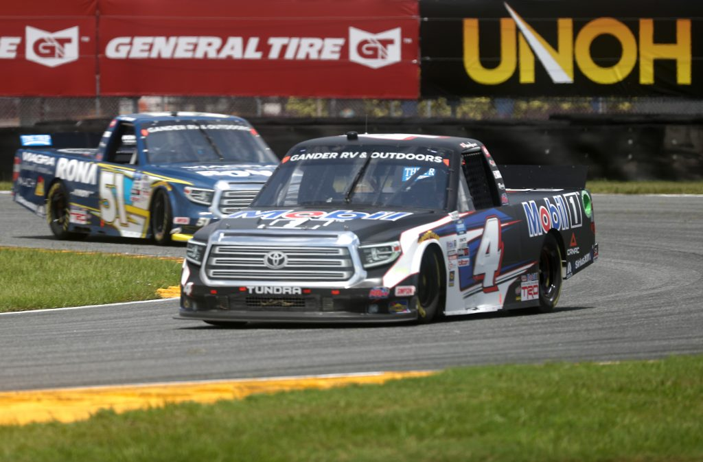 DAYTONA BEACH, FLORIDA - AUGUST 16: Raphael Lessard, driver of the #4 Mobil 1 Toyota, races Alex Tagliani, driver of the #51 RONA/VIAGRA Toyota, during the NASCAR Gander RV & Outdoors Truck Series Sunoco 159 at Daytona International Speedway on August 16, 2020 in Daytona Beach, Florida. (Photo by Chris Graythen/Getty Images) | Getty Images
