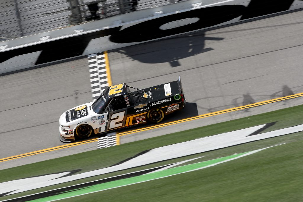 DAYTONA BEACH, FLORIDA - AUGUST 16: Sheldon Creed, driver of the #2 Chevy Accessories Chevrolet, crosses the finish line to win the NASCAR Gander RV & Outdoors Truck Series Sunoco 159 at Daytona International Speedway on August 16, 2020 in Daytona Beach, Florida. (Photo by Chris Graythen/Getty Images) | Getty Images