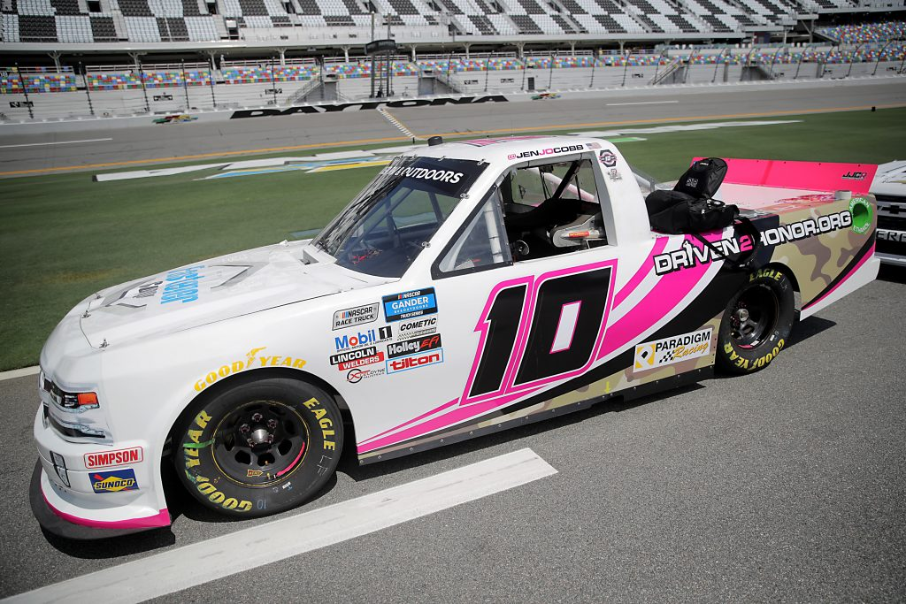 DAYTONA BEACH, FLORIDA - AUGUST 16: The #10 Fastener Supply Company Chevrolet, driven by Jennifer Jo Cobb, waits on the grid prior to the NASCAR Gander RV & Outdoors Truck Series Sunoco 159 at Daytona International Speedway on August 16, 2020 in Daytona Beach, Florida. (Photo by Chris Graythen/Getty Images)   Getty Images