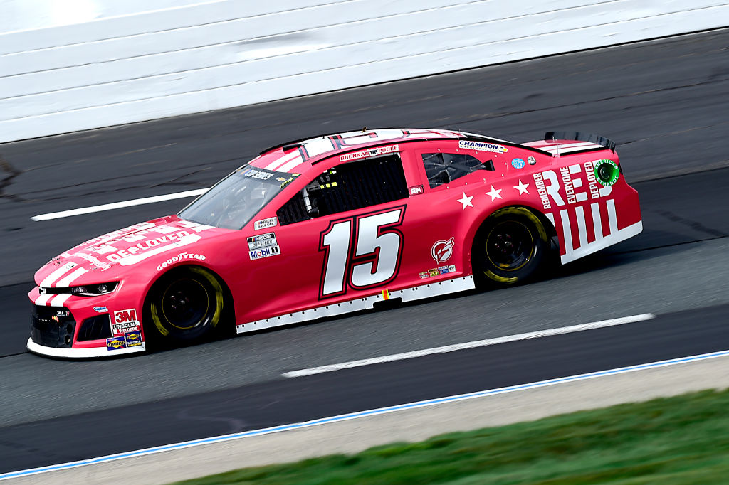 LOUDON, NEW HAMPSHIRE - AUGUST 02: Brennan Poole, driver of the #15 Remember Everyone Deployed Today Chevrolet, drives during the NASCAR Cup Series Foxwoods Resort Casino 301 at New Hampshire Motor Speedway on August 02, 2020 in Loudon, New Hampshire. (Photo by Jared C. Tilton/Getty Images) | Getty Images