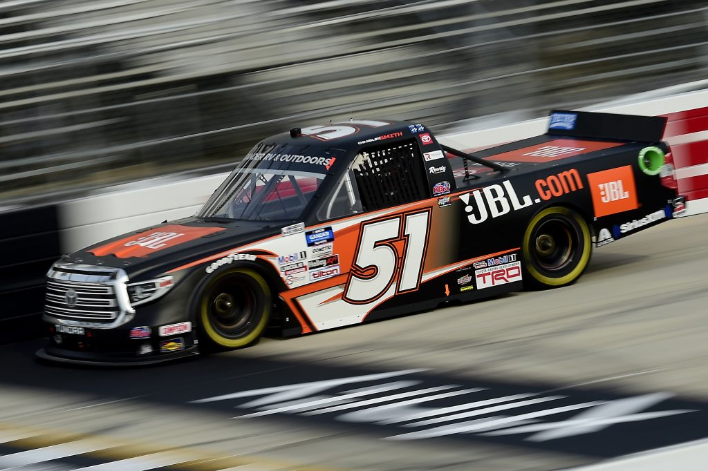 DOVER, DELAWARE - AUGUST 21: Chandler Smith, driver of the #51 JBL Toyota, drives during the NASCAR Gander RV & Outdoors Truck Series KDI Office Technology 200 at Dover International Speedway on August 21, 2020 in Dover, Delaware. (Photo by Jared C. Tilton/Getty Images) | Getty Images
