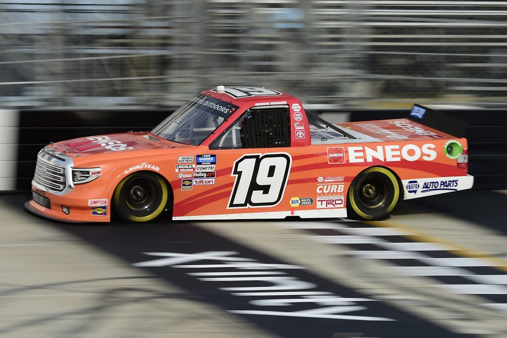 DOVER, DELAWARE - AUGUST 21: Derek Kraus, driver of the #19 ENEOS Toyota, drives during the NASCAR Gander RV & Outdoors Truck Series KDI Office Technology 200 at Dover International Speedway on August 21, 2020 in Dover, Delaware. (Photo by Jared C. Tilton/Getty Images) | Getty Images