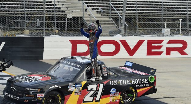 DOVER, DELAWARE - AUGUST 21: Zane Smith, driver of the #21 On The House Cocktail Mix Chevrolet, celebrates after winning the NASCAR Gander RV & Outdoors Truck Series KDI Office Technology 200 at Dover International Speedway on August 21, 2020 in Dover, Delaware. (Photo by Jared C. Tilton/Getty Images) | Getty Images