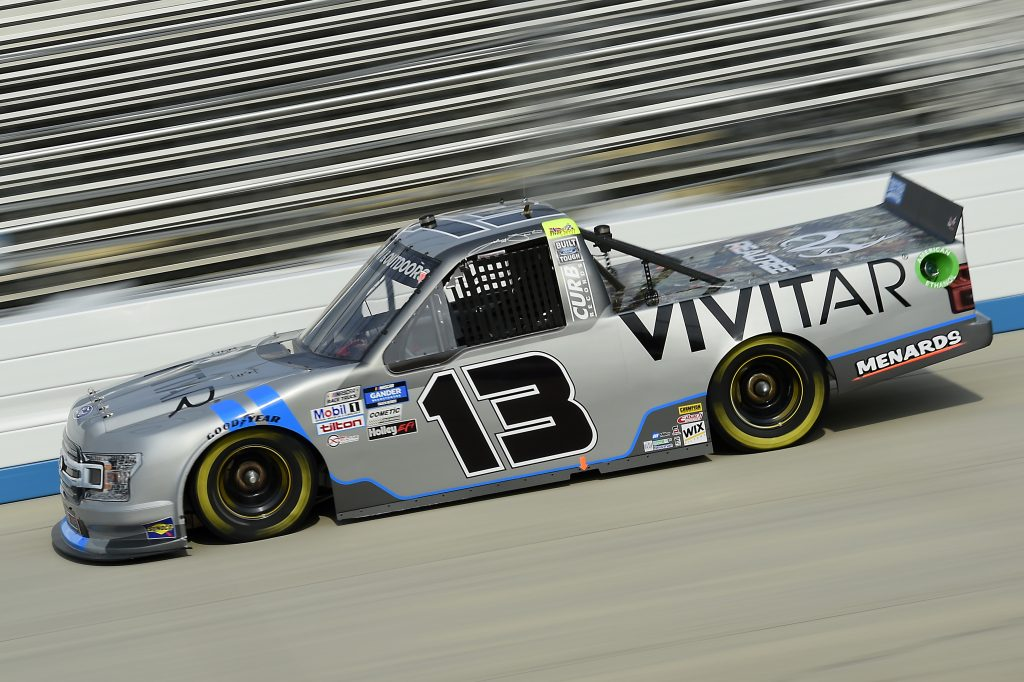 DOVER, DELAWARE - AUGUST 21: Johnny Sauter, driver of the #13 Vivitar Ford, drives during the NASCAR Gander RV & Outdoors Truck Series KDI Office Technology 200 at Dover International Speedway on August 21, 2020 in Dover, Delaware. (Photo by Jared C. Tilton/Getty Images) | Getty Images