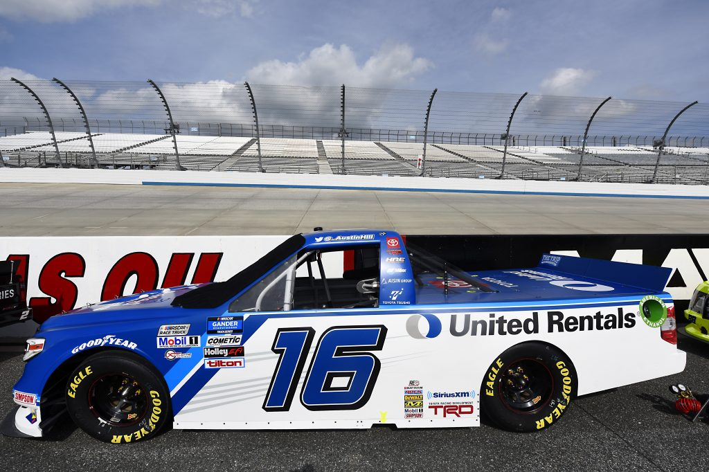 DOVER, DELAWARE - AUGUST 21: The #16 United Rentals Toyota, driven by Austin Hill, sits on the grid prior tp the NASCAR Gander RV & Outdoors Truck Series KDI Office Technology 200 at Dover International Speedway on August 21, 2020 in Dover, Delaware. (Photo by Jared C. Tilton/Getty Images) | Getty Images