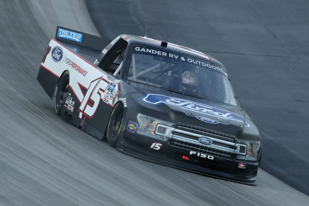 DOVER, DELAWARE - AUGUST 21: Tanner Gray, driver of the #15 Ford/Ford Performance Ford, drives during the NASCAR Gander RV & Outdoors Truck Series KDI Office Technology 200 at Dover International Speedway on August 21, 2020 in Dover, Delaware. (Photo by Hunter Martin/Getty Images) | Getty Images