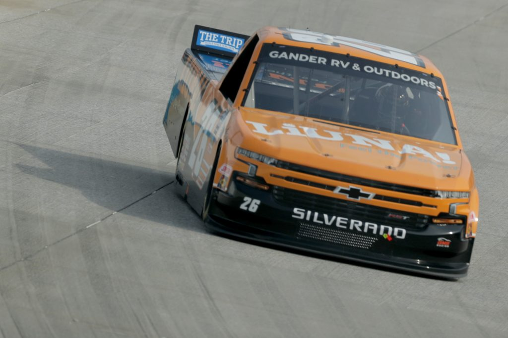 DOVER, DELAWARE - AUGUST 21: Tyler Ankrum, driver of the #26 LIUNA! Chevrolet, drives during the NASCAR Gander RV & Outdoors Truck Series KDI Office Technology 200 at Dover International Speedway on August 21, 2020 in Dover, Delaware. (Photo by Hunter Martin/Getty Images) | Getty Images
