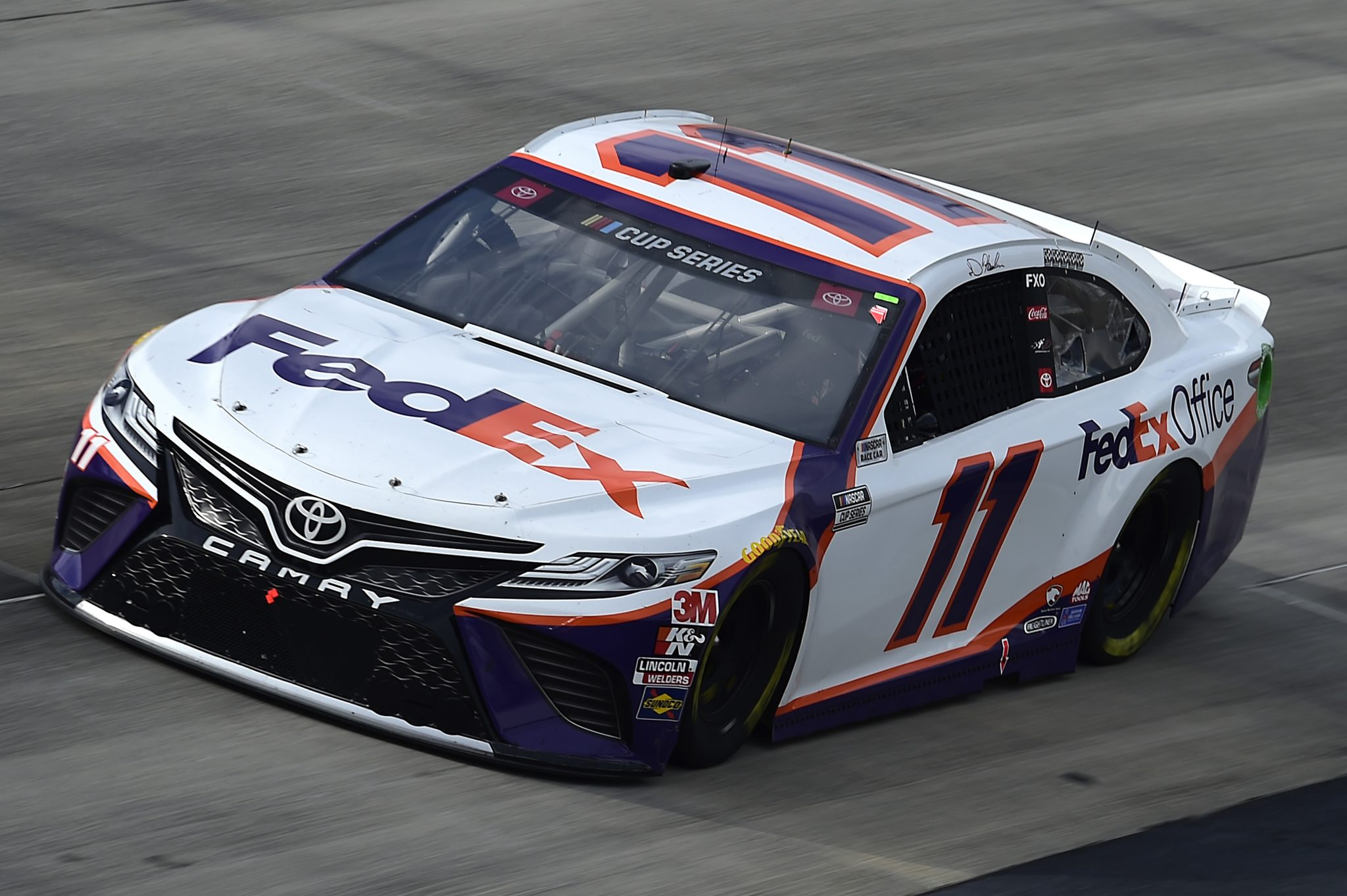 DOVER, DELAWARE - AUGUST 22: Denny Hamlin, driver of the #11 FedEx Office Toyota, drives during the NASCAR Cup Series Drydene 311 at Dover International Speedway on August 22, 2020 in Dover, Delaware. (Photo by Jared C. Tilton/Getty Images) | Getty Images