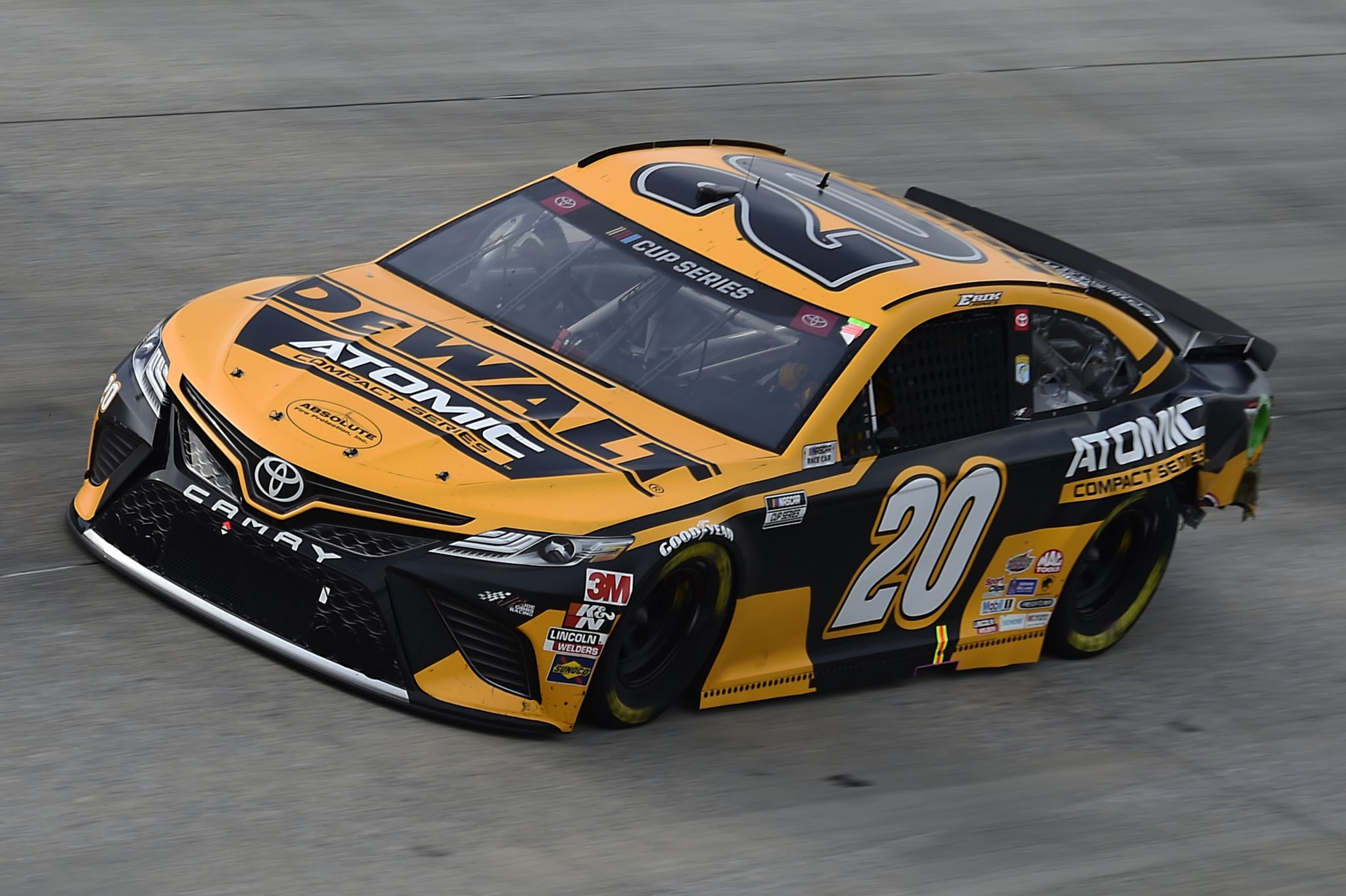 DOVER, DELAWARE - AUGUST 22: Erik Jones, driver of the #20 DEWALT Atomic Toyota, drives during the NASCAR Cup Series Drydene 311 at Dover International Speedway on August 22, 2020 in Dover, Delaware. (Photo by Jared C. Tilton/Getty Images) | Getty Images