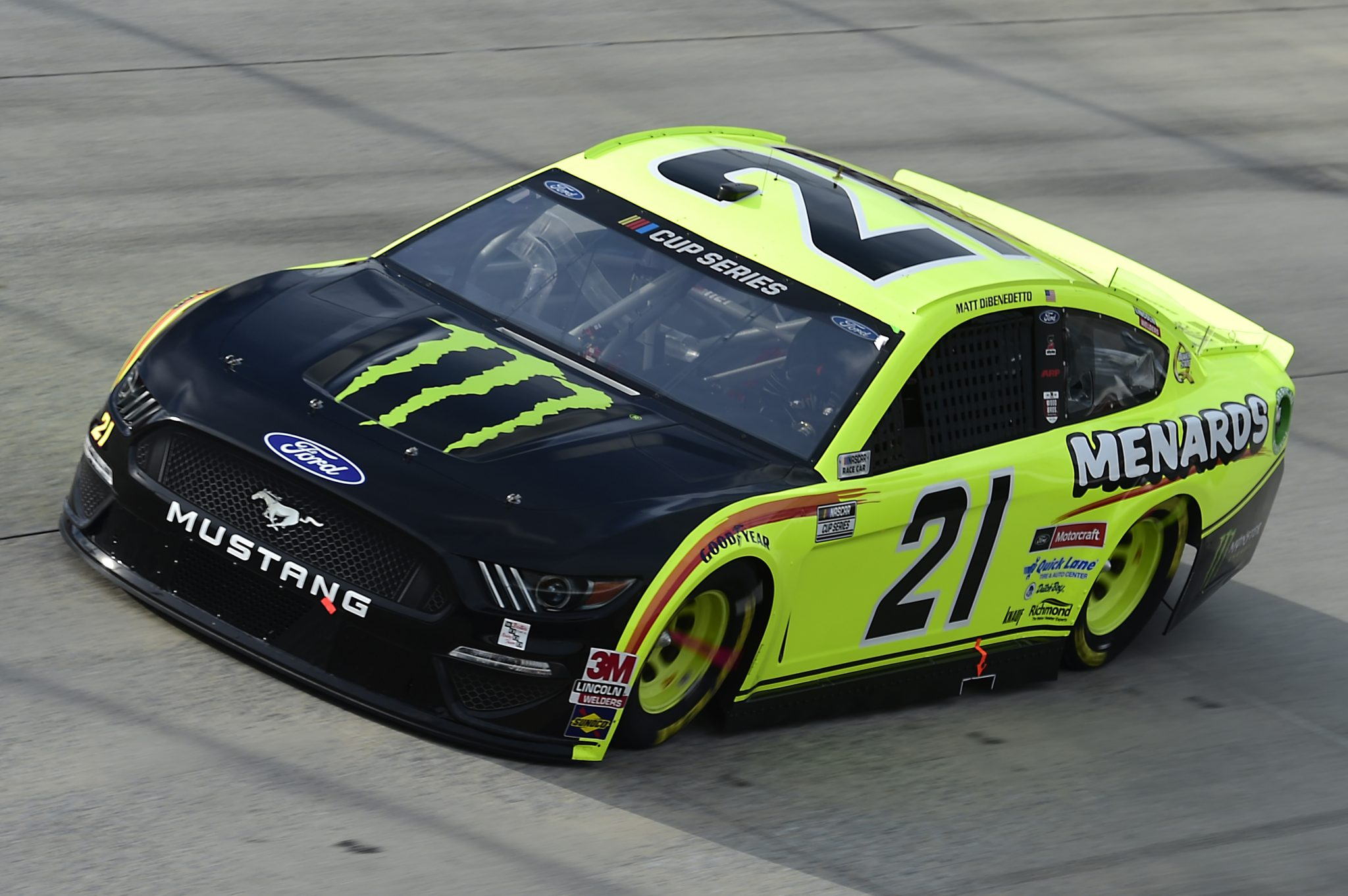 DOVER, DELAWARE - AUGUST 22: Matt DiBenedetto, driver of the #21 Menards/Monster Energy Ford, drives during the NASCAR Cup Series Drydene 311 at Dover International Speedway on August 22, 2020 in Dover, Delaware. (Photo by Jared C. Tilton/Getty Images) | Getty Images