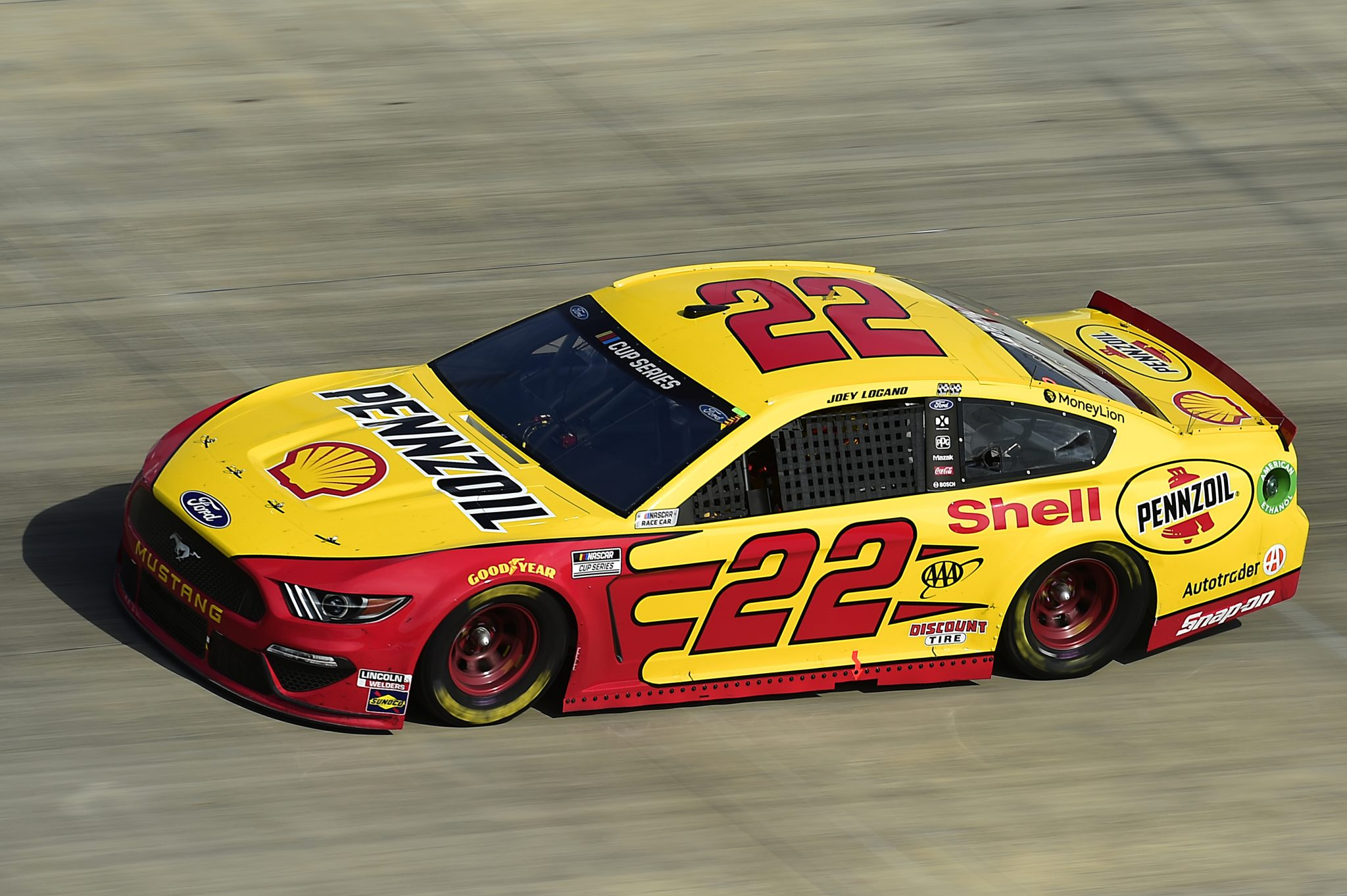 DOVER, DELAWARE - AUGUST 22: Joey Logano, driver of the #22 Shell Pennzoil Ford, drives during the NASCAR Cup Series Drydene 311 at Dover International Speedway on August 22, 2020 in Dover, Delaware. (Photo by Jared C. Tilton/Getty Images) | Getty Images