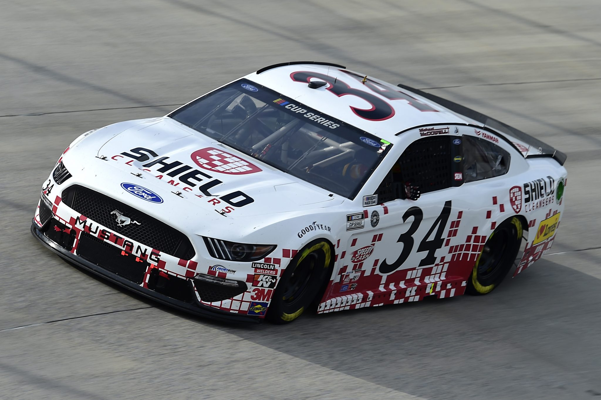 DOVER, DELAWARE - AUGUST 22: Michael McDowell, driver of the #34 Digital Ally Shield Cleansers Ford, drives during the NASCAR Cup Series Drydene 311 at Dover International Speedway on August 22, 2020 in Dover, Delaware. (Photo by Jared C. Tilton/Getty Images) | Getty Images