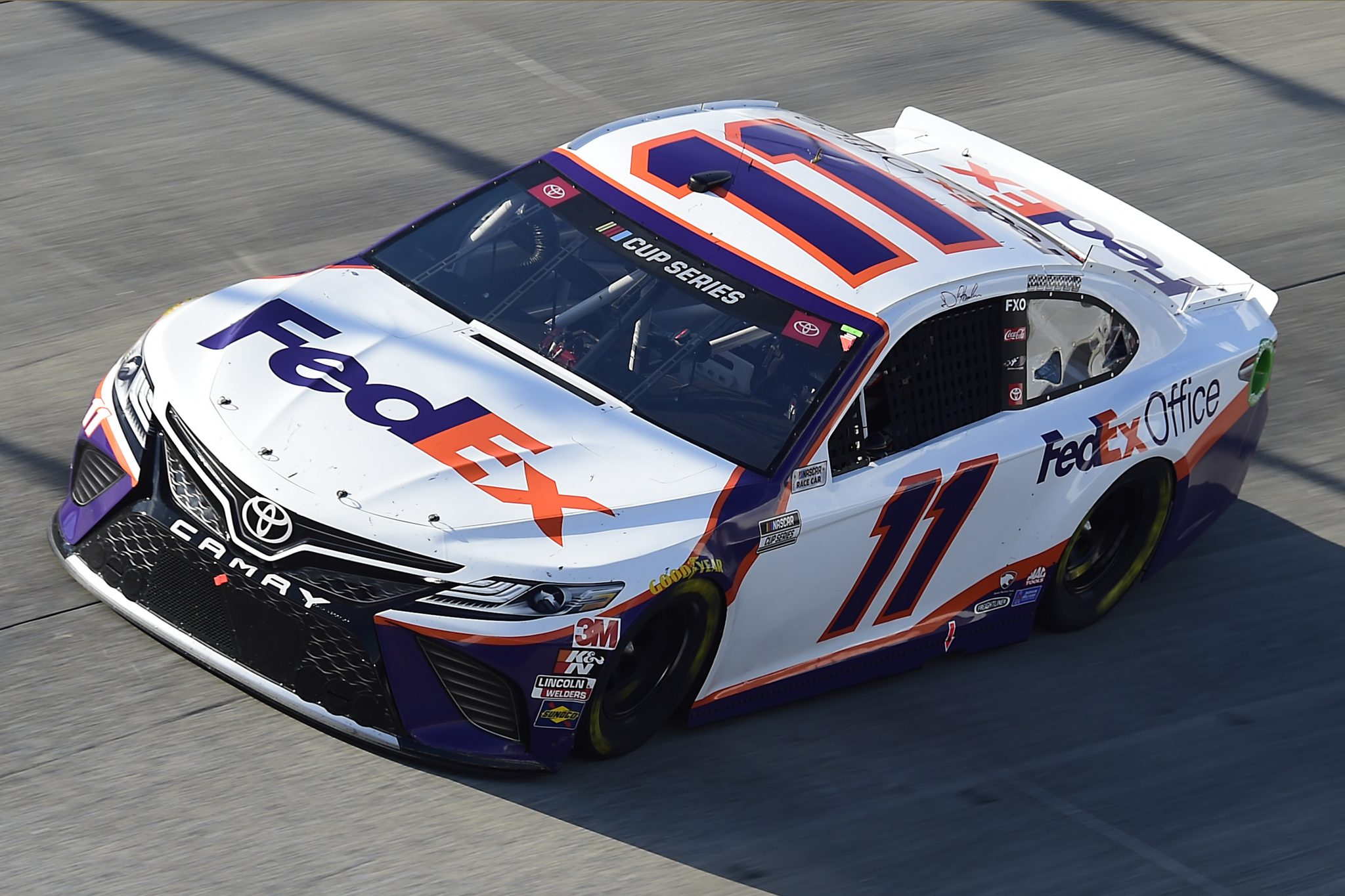 DOVER, DELAWARE - AUGUST 23: Denny Hamlin, driver of the #11 FedEx Office Toyota, drives during the NASCAR Cup Series Drydene 311 at Dover International Speedway on August 23, 2020 in Dover, Delaware. (Photo by Jared C. Tilton/Getty Images) | Getty Images