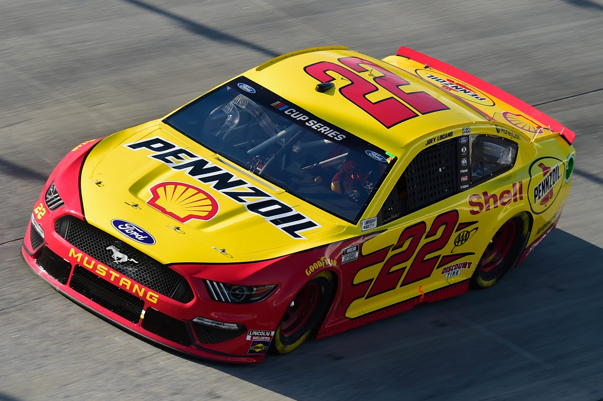 DOVER, DELAWARE - AUGUST 23: Joey Logano, driver of the #22 Shell Pennzoil Ford, drives during the NASCAR Cup Series Drydene 311 at Dover International Speedway on August 23, 2020 in Dover, Delaware. (Photo by Jared C. Tilton/Getty Images) | Getty Images
