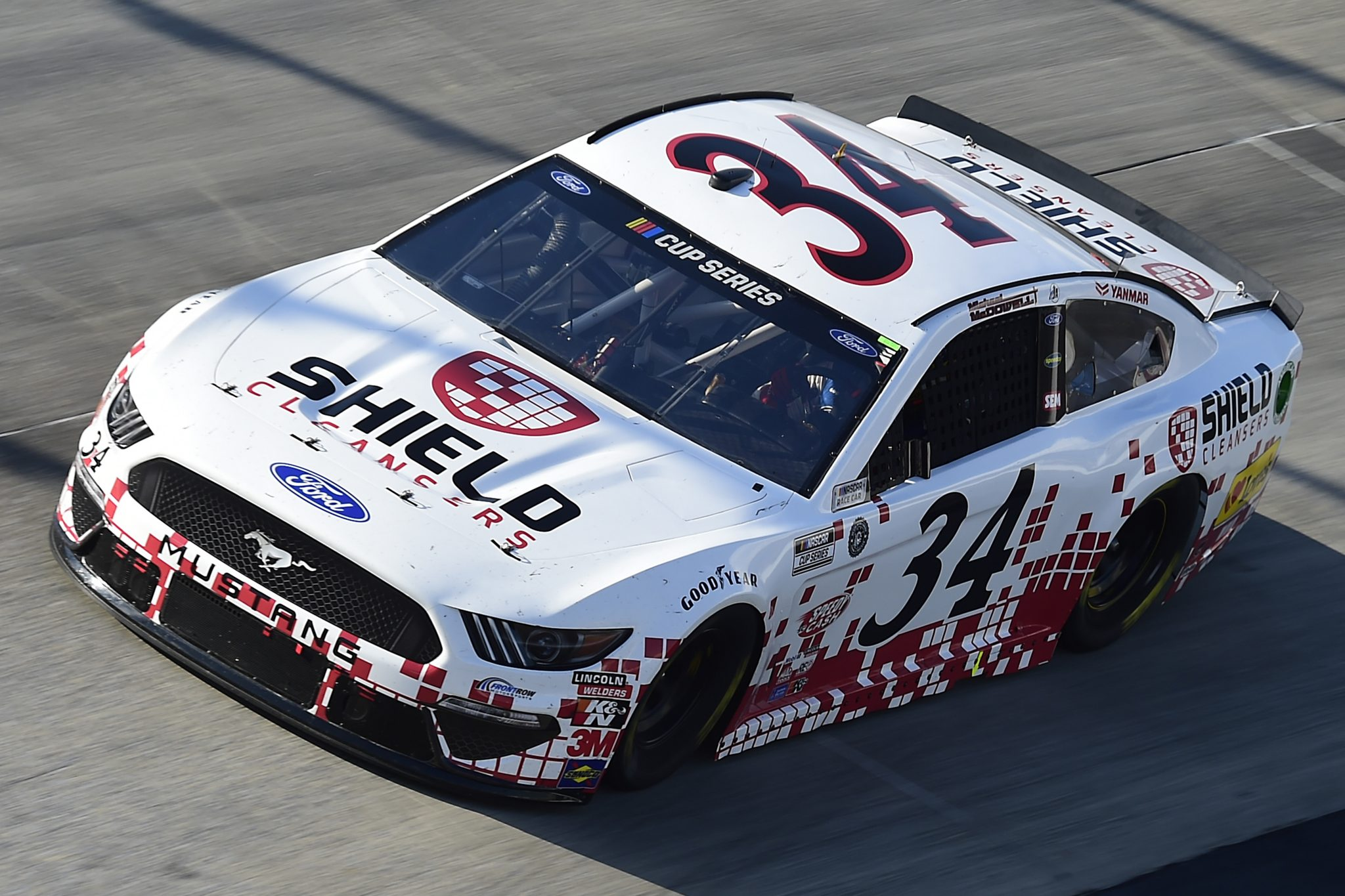 DOVER, DELAWARE - AUGUST 23: Michael McDowell, driver of the #34 Digital Ally Shield Cleansers Ford, drives during the NASCAR Cup Series Drydene 311 at Dover International Speedway on August 23, 2020 in Dover, Delaware. (Photo by Jared C. Tilton/Getty Images) | Getty Images