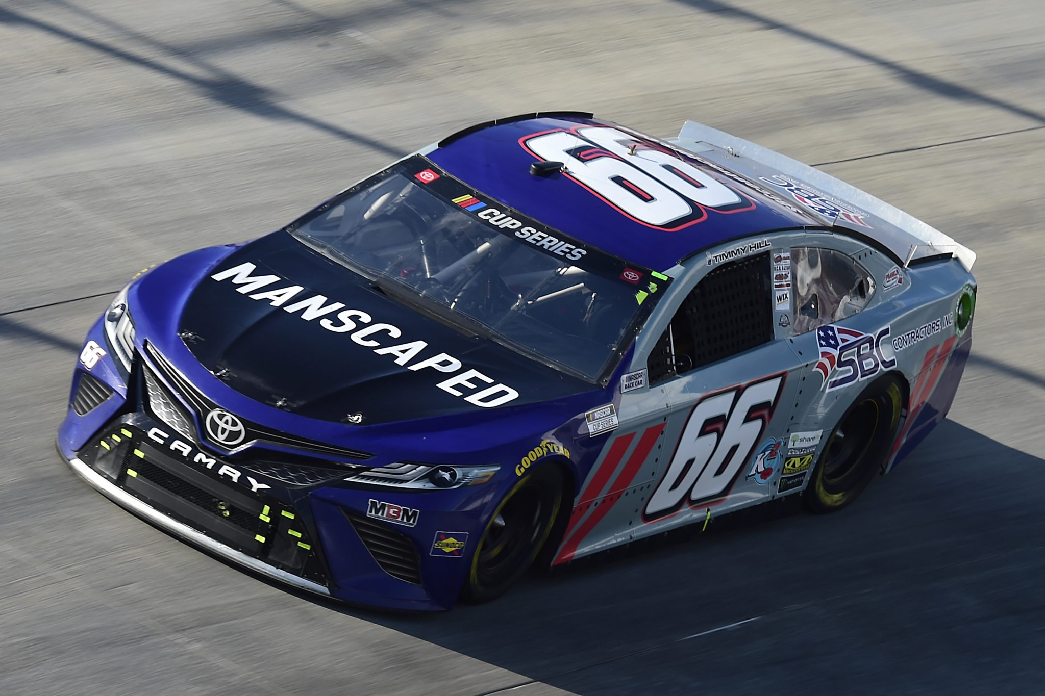 DOVER, DELAWARE - AUGUST 23: Timmy Hill, driver of the #66 Manscaped Toyota, drives during the NASCAR Cup Series Drydene 311 at Dover International Speedway on August 23, 2020 in Dover, Delaware. (Photo by Jared C. Tilton/Getty Images) | Getty Images