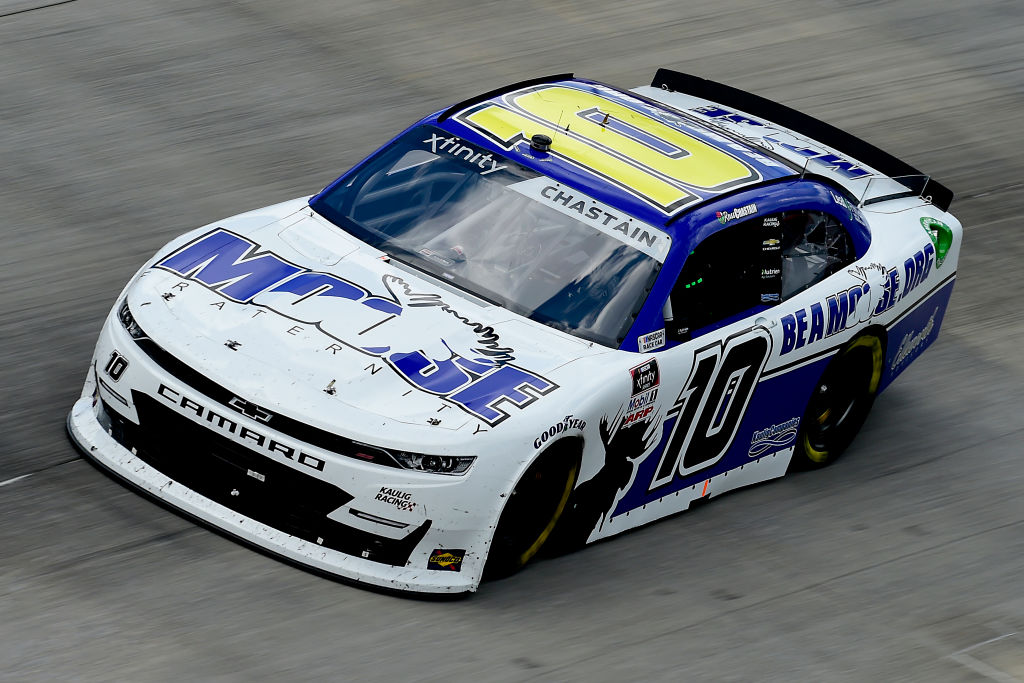 DOVER, DELAWARE - AUGUST 23: Ross Chastain, driver of the #10 Moose Fraternity Chevrolet, drives during the NASCAR Xfinity Series Drydene 200 at Dover International Speedway on August 23, 2020 in Dover, Delaware. (Photo by Jared C. Tilton/Getty Images) | Getty Images