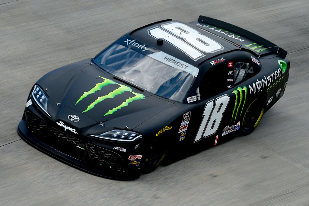 DOVER, DELAWARE - AUGUST 23: Riley Herbst, driver of the #18 Monster Energy Toyota, drives during the NASCAR Xfinity Series Drydene 200 at Dover International Speedway on August 23, 2020 in Dover, Delaware. (Photo by Jared C. Tilton/Getty Images) | Getty Images