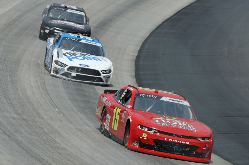 DOVER, DELAWARE - AUGUST 22: Colby Howard, driver of the #15 Project Hope Foundation Chevrolet, leads the field during the NASCAR Xfinity Series Drydene 200 at Dover International Speedway on August 22, 2020 in Dover, Delaware. (Photo by Hunter Martin/Getty Images)   Getty Images