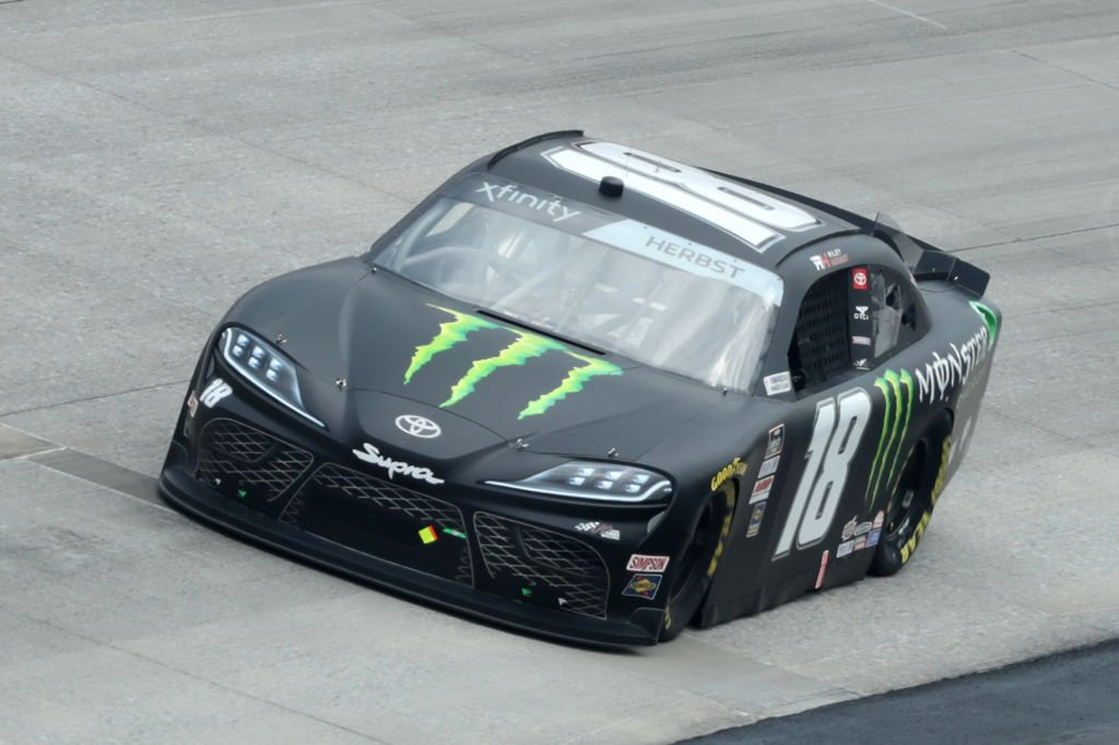 DOVER, DELAWARE - AUGUST 22: Riley Herbst, driver of the #18 Monster Energy Toyota, drives during the NASCAR Xfinity Series Drydene 200 at Dover International Speedway on August 22, 2020 in Dover, Delaware. (Photo by Hunter Martin/Getty Images) | Getty Images