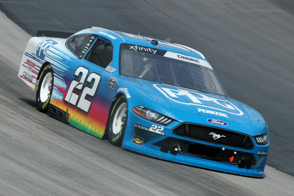 DOVER, DELAWARE - AUGUST 22: Austin Cindric, driver of the #22 PPG Ford, drives during the NASCAR Xfinity Series Drydene 200 at Dover International Speedway on August 22, 2020 in Dover, Delaware. (Photo by Hunter Martin/Getty Images)   Getty Images